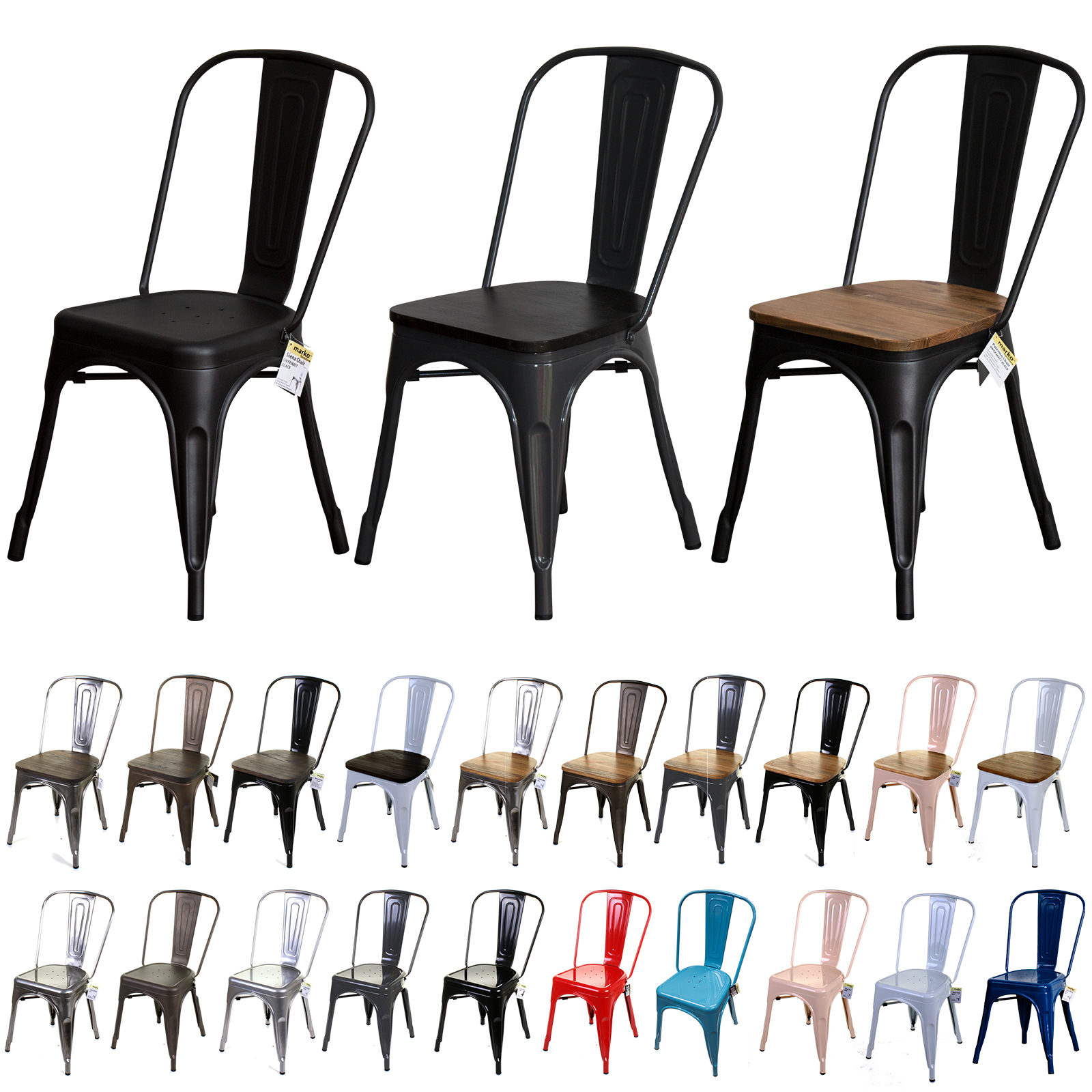 Details about TOLIX STYLE VINTAGE METAL DINING BISTRO CHAIRS GARDEN KITCHEN INDUSTRIAL CAFE