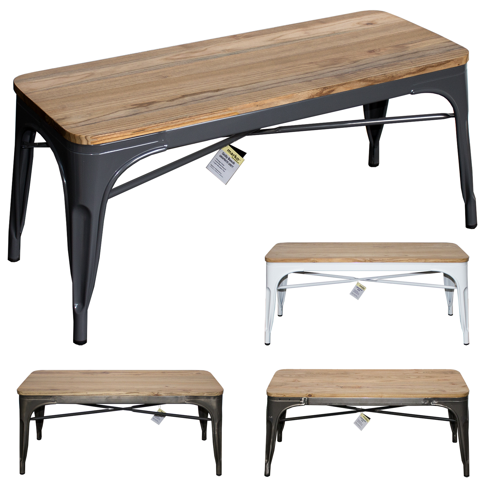 - INDUSTRIAL BENCH SEAT METAL RUSTIC VINTAGE FURNITURE TOLIX STYLE