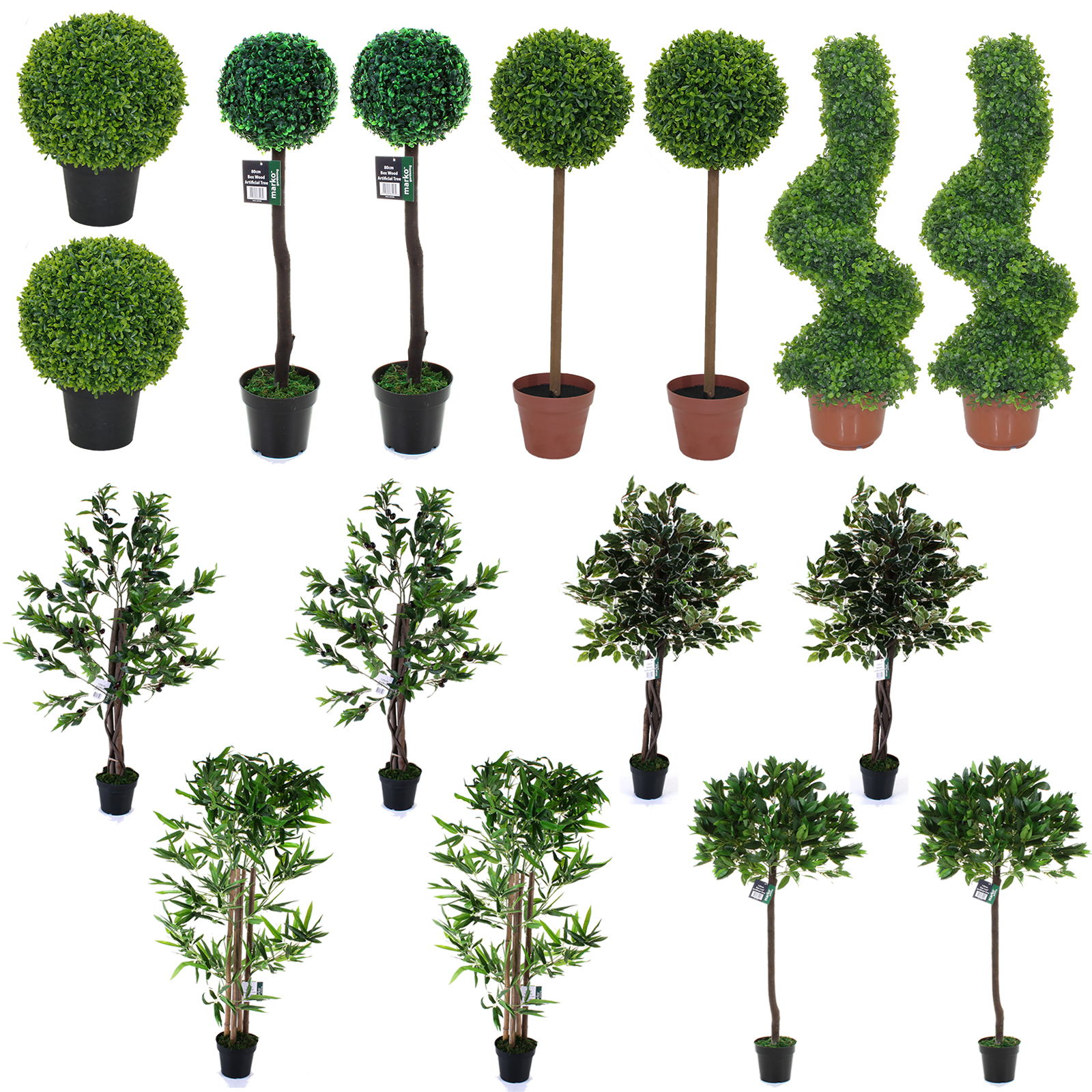 Beautiful manicured garden mature trees potted stock photo