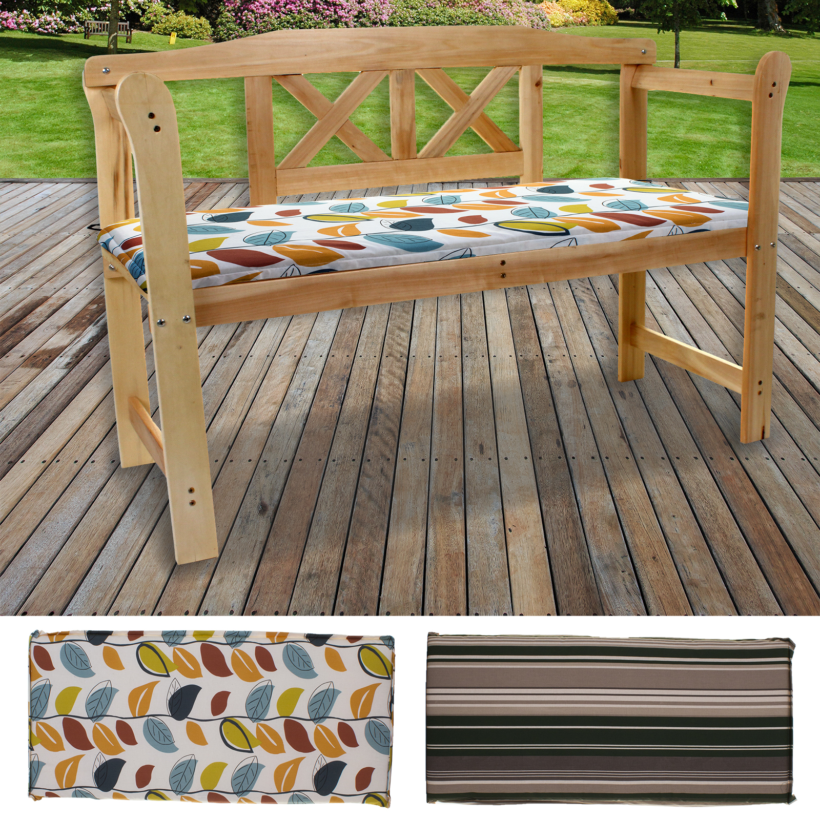 2 3 Seater Bench Cushions Outdoor Garden Seat Pad Patio Furniture