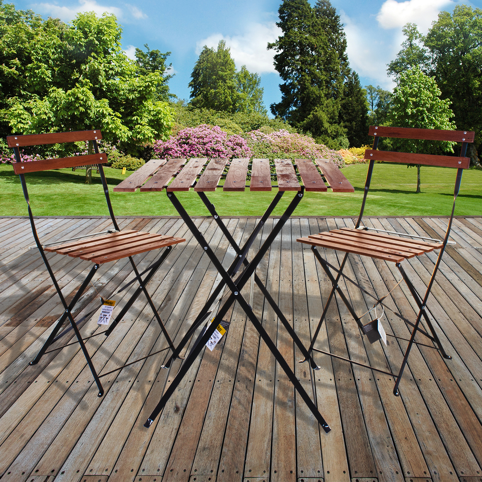 Details About 3pc Bistro Set Metal Wood Slat Folding Outdoor Furniture Square Table Chairs