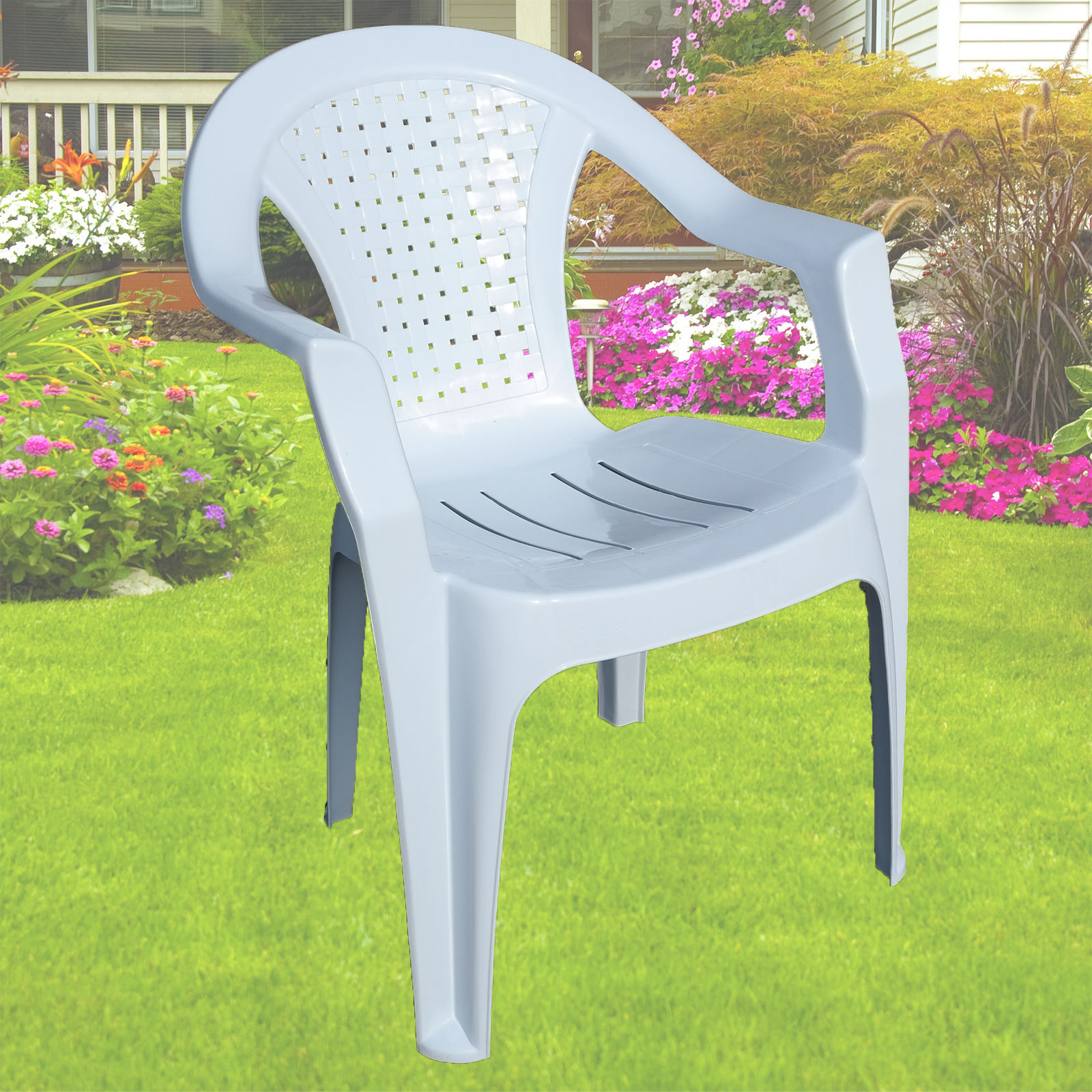 Details About Indoor Outdoor Plastic Chairs Garden Patio Stacking Strong Armchair White Chair