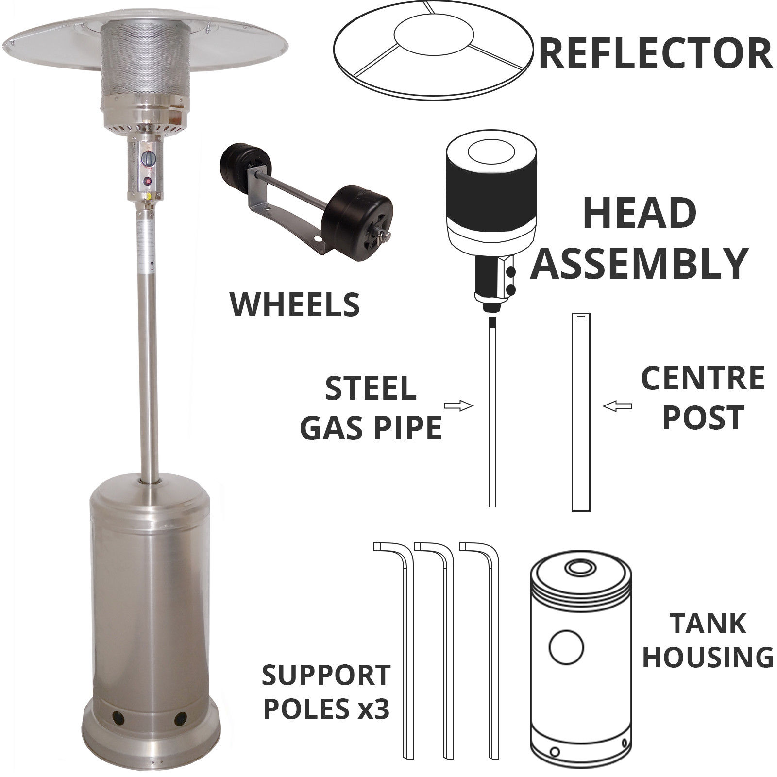Gas Patio Heater Replacement Spare Parts 14kw Outdoor Garden Heat