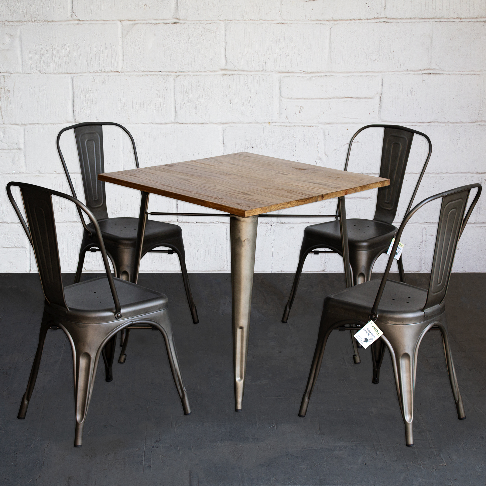 Details About 3pc 5pc Dining Table Chair Sets Metal Wood Cafe Restaurant Bistro Rustic Tolix