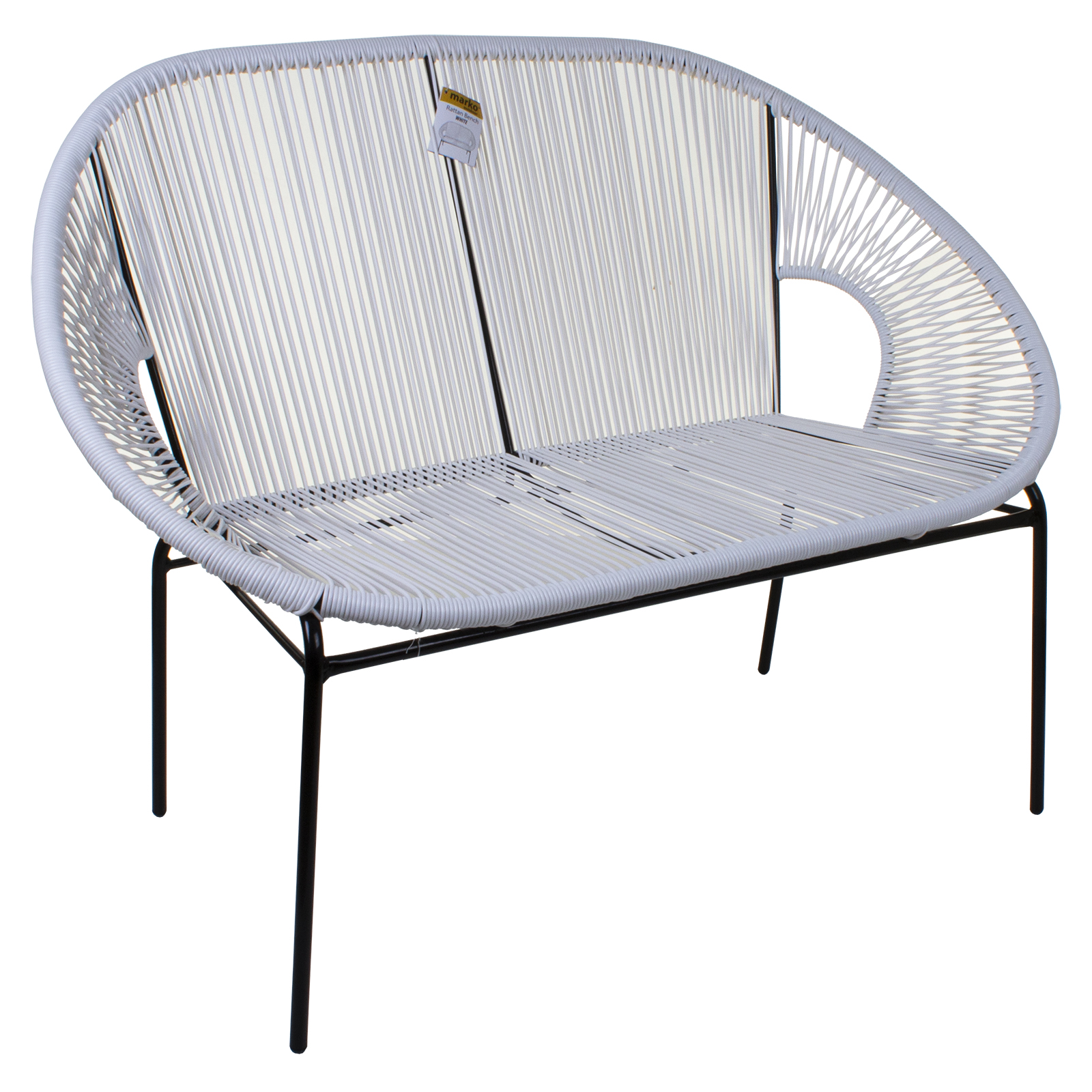 Outstanding Details About 2 Seat White Garden Bench Rattan Egg String Design Loveseat Moon Outdoor Indoor Ocoug Best Dining Table And Chair Ideas Images Ocougorg
