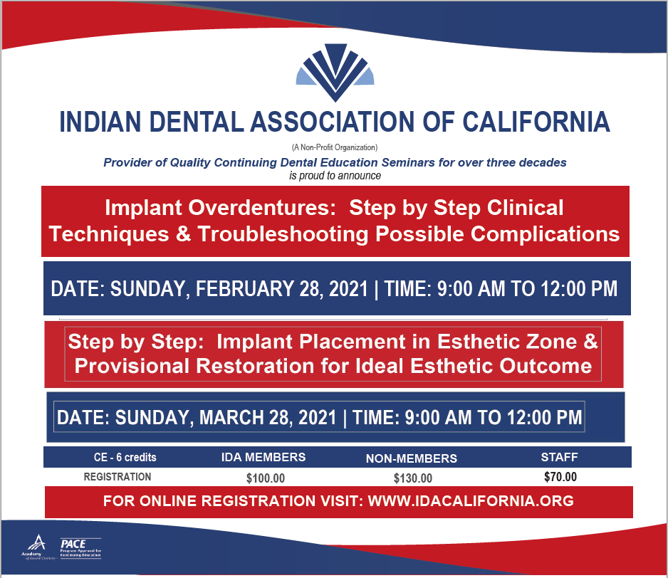 Winter Special - Two Webinars - 2/28/21 & 3/28/21 - Implant Dentistry
