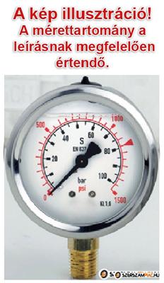 600 bar-os manométer, nyomásmérő óra, glicerin csillapítással, D=63mm, 1/4