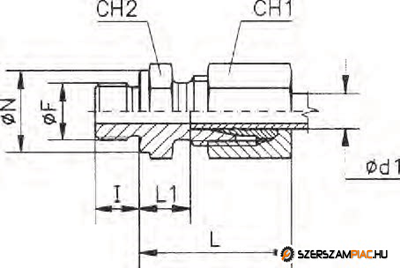 Egyenes behajtható csavarzat 12SR 3/8