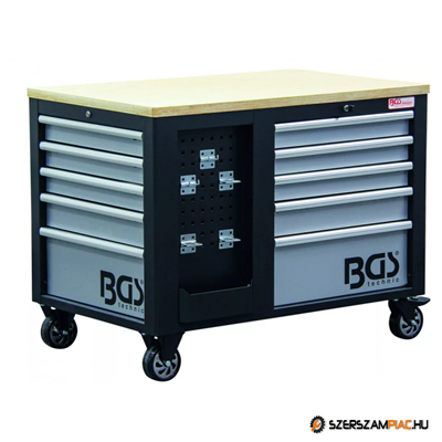 Műhelykocsi, szerszámos kocsi, szerszámos szekrény | 2 x 5 fiók | 1 szekrény | üres - - BGS-4199