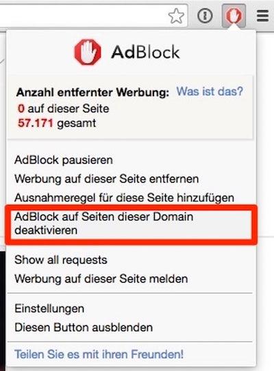 Adblock deaktivieren