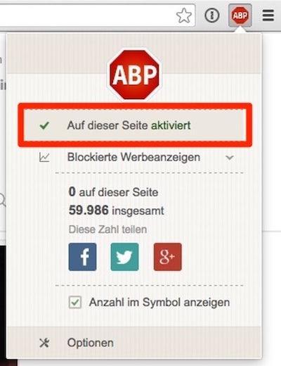 Adblock Plus deaktivieren