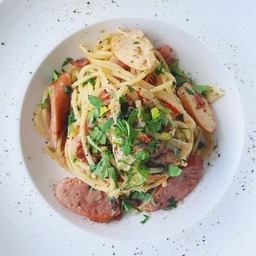 AGLIO OLIO WITH SAUSAGES