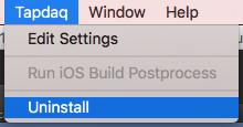 Window>Tapdaq>Uninstall
