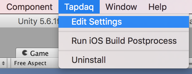 Window>Tapdaq>Edit Settings