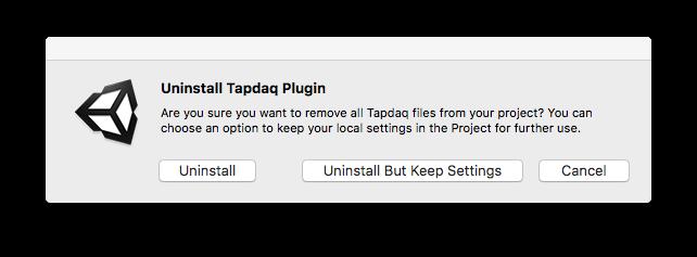 Window>Tapdaq>Uninstall Options