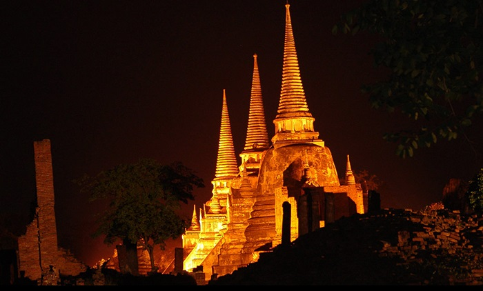 Unseen Ayutthaya at night time with dinner