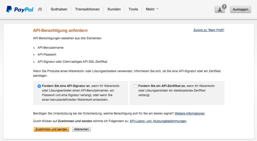 Anforderung der API Berechtigungen bestätigen