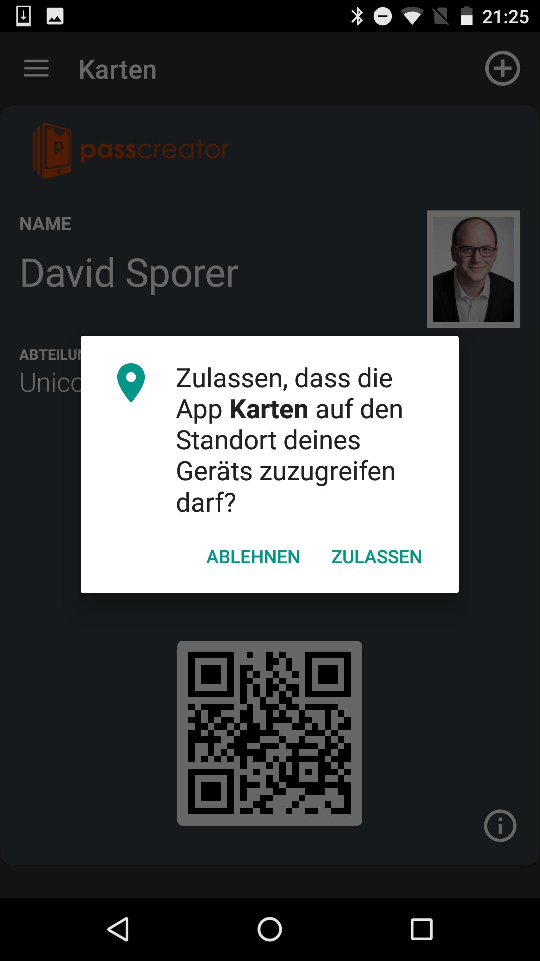 Android Wallet Passes App: Zugriff auf Standort erlauben