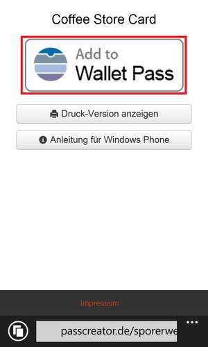 Download page for Wallet passes on Windows Phone
