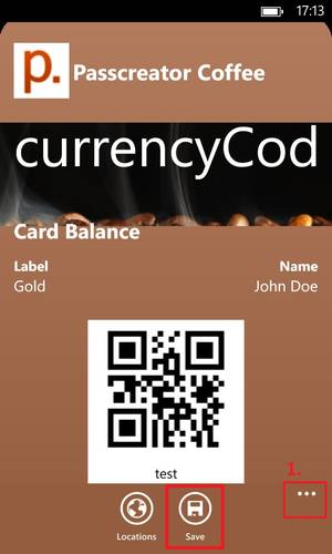 Wallet-Karte in Wallet Pass App auf Windows Phone gespeichert
