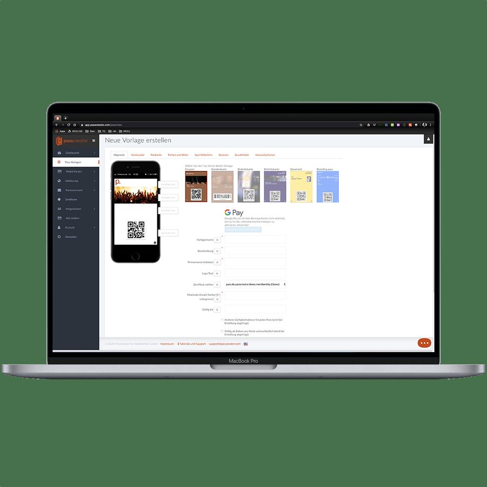 Grafischer Editor für Wallet-Karten in Passcreator