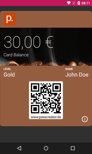 Wallet pass saved on Android device