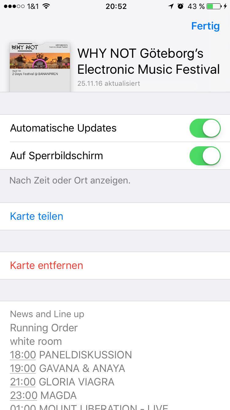 Mitteilungen im Sperrbildschirm - Wallet iOS