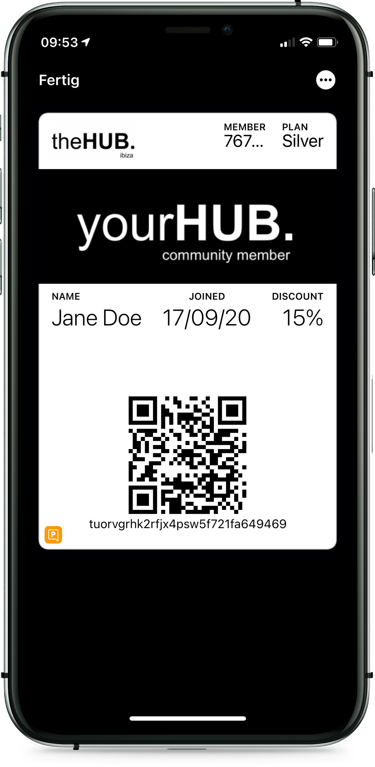 theHUB. membership Wallet card - Front