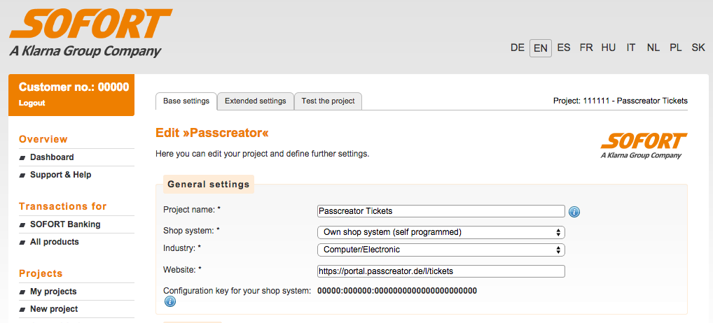 Setup gateway project on sofort.com