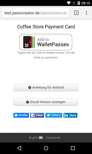 Download page for Wallet passes on Android