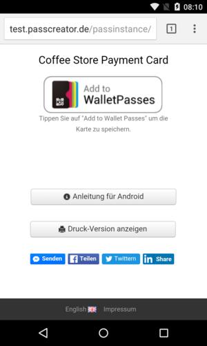 Download-Seite für Wallet-Karte auf Android
