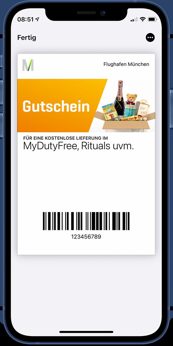 Flughafen München eurotrade Gutschein auf einem iPhone 12 mini