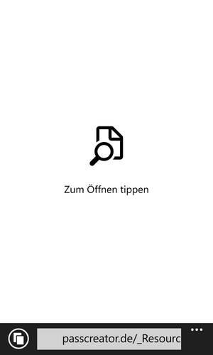 Wallet-Karte auf Windows Phone öffnen