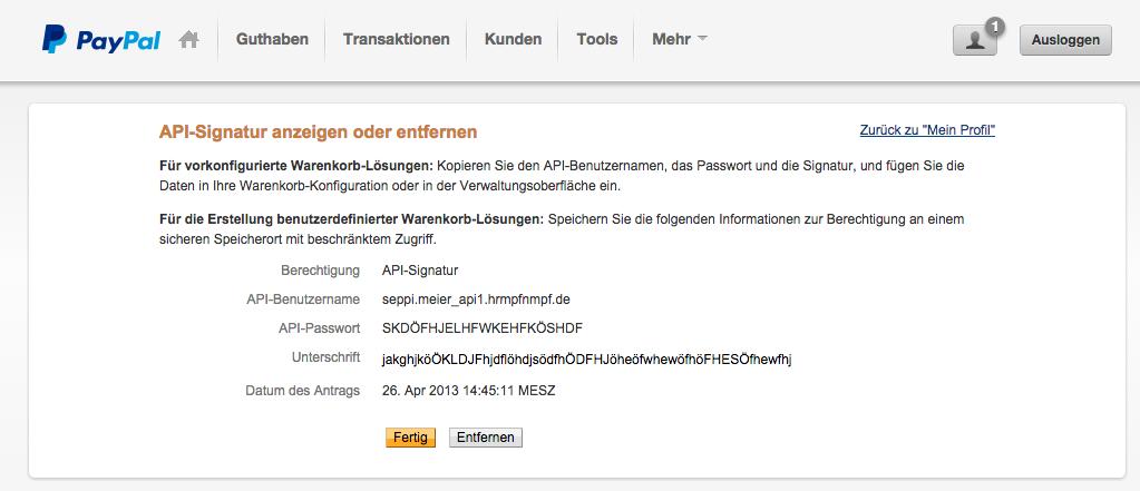 PayPal API Signatur