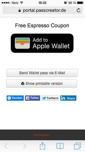 Download page for Wallet passes