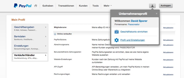 PayPal Profil und Einstellungen