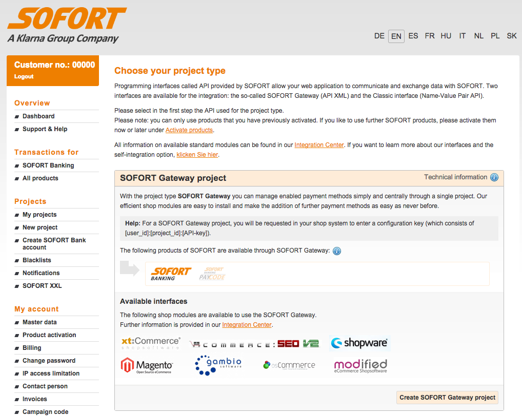 Choose project type for SOFORT project