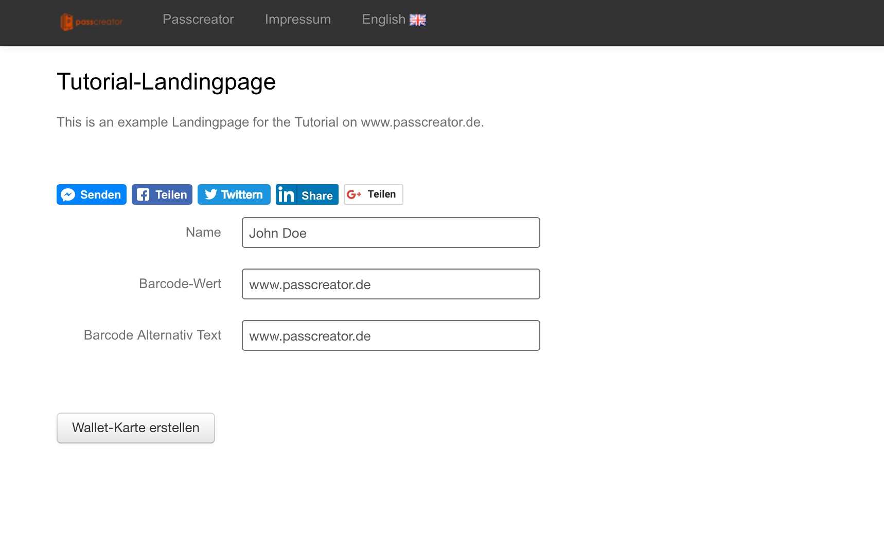 Landingpage for Wallet passes on a Desktop device