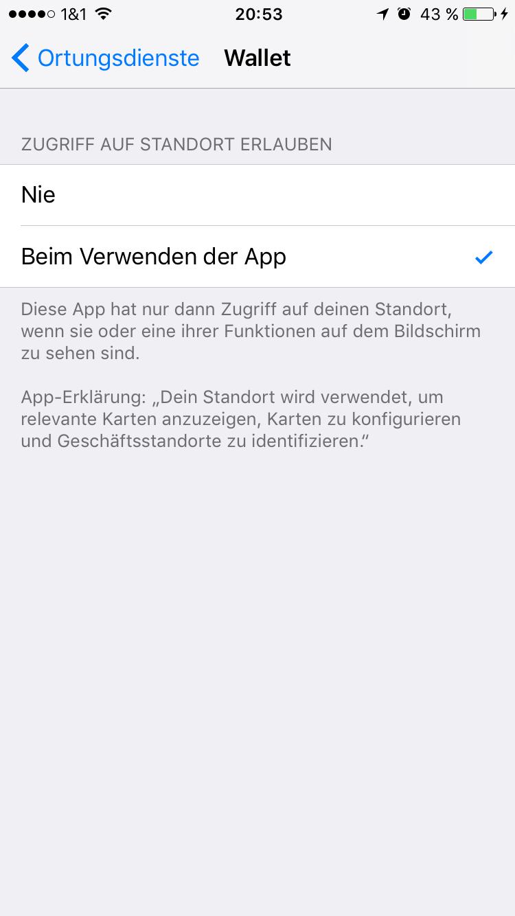 Einstellungen für Ortungsdienste der Wallet App auf iOS