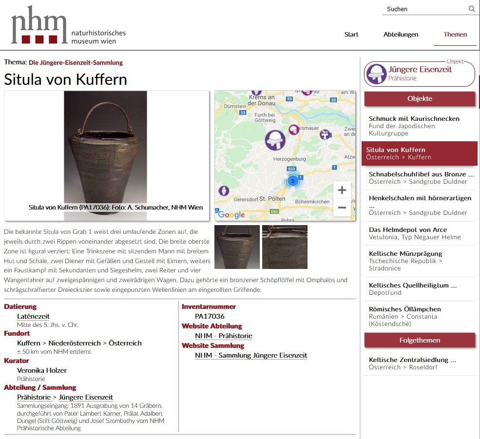 Screenshot von objekte.nhm-wien.ac.at
