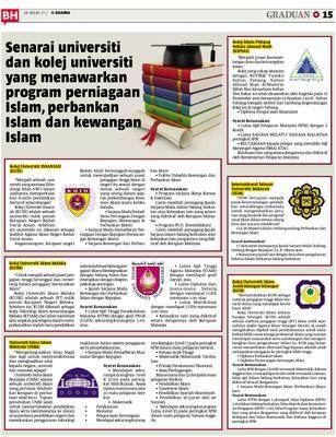 Senarai Universiti Dan Kolej Universiti Yang Menawarkan Program Perniagaan Islam Perbankan Islam Dan Kewangan Islam Klik