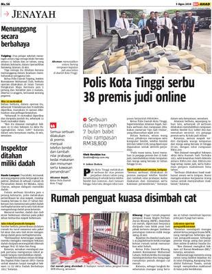 Polis Kota Tinggi serbu 38 premis judi online | KLiK