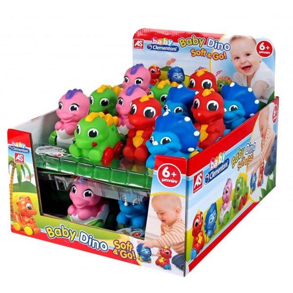 Baby Clementoni Βρεφικό Παιχνίδι Δεινοσαυράκια Soft And Go - 4 Σχέδια 1000-63162  Αγόρι, Κορίτσι 12-24 μηνών, 6-12 μηνών Baby Clementoni