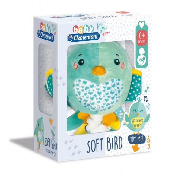 Baby Clementoni  Baby Clementoni Soft Bird Βρεφικό Μουσικό Χνουδωτό Κρεμαστό Πουλάκι 1000-17269 Αγόρι, Κορίτσι 0-6 μηνών, 6-12 μηνών