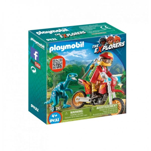 Playmobil Dinos Εξερευνητής με Motocross και μικρό δεινόσαυρο 9431 Playmobil, Playmobil Dinos Αγόρι 4-5 ετών, 5-7 ετών