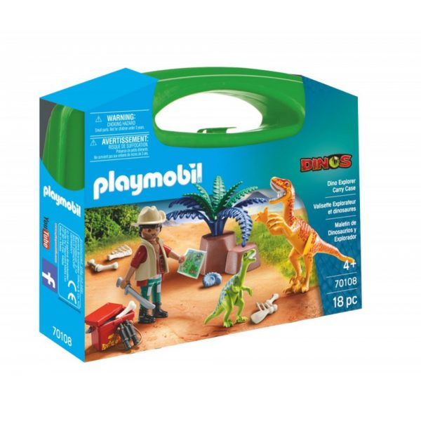 Playmobil Maxi Βαλιτσάκι εξερευνητής & δεινόσαυροι Playmobil, Playmobil Dinos Unisex, Αγόρι, Κορίτσι