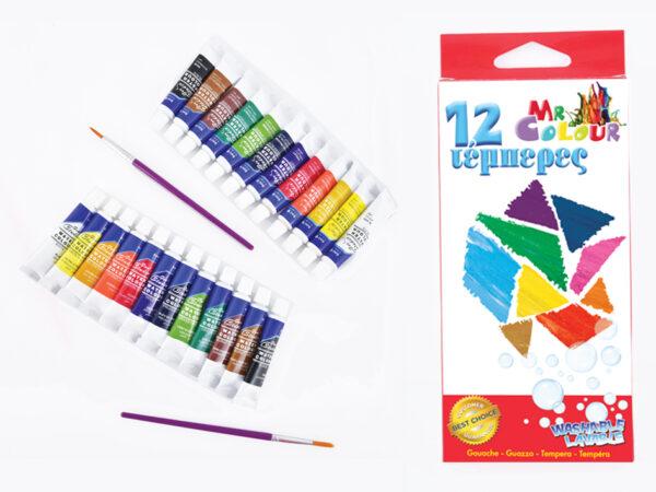 ΤΣΑ-ΦΑΛ  Τέμπερες Σετ 12 χρωματων Σωληνάρια 6cc,  Σ0606 ΤΣΑ-ΦΑΛ