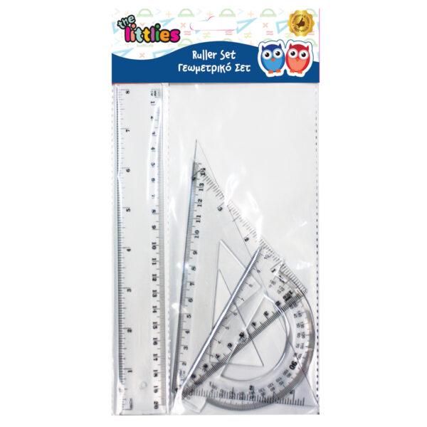 Γεωμετρικό Σετ The littlies 4 Τμχ. (χάρακας 20 εκ., 2 τρίγωνα, μοιρογνωμόνιο) the littlies Αγόρι, Κορίτσι