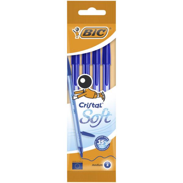 Bic Στυλό  Cristal Soft Μπλε BL4 918527 Bic Αγόρι, Κορίτσι