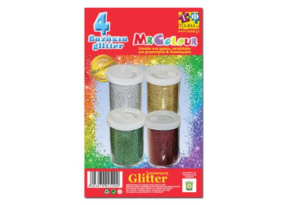 ΤΣΑ-ΦΑΛ  Βαζάκι glitter Blister 4tmx διαφορα Χρώματα, Σ2520.4 ΤΣΑ-ΦΑΛ